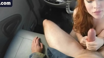 Slutty young ginger is guard against mouthful of jizz after sucking dude'_s cock