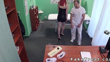 Girth redhead licked in fake hospital
