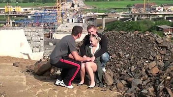 Young cute blonde legal age teenager girl Broach threesome at a construction web site