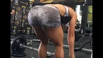 Brunette about gym working out her ass [look description]