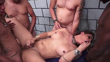Busty Latin chick Shemale Group Gangbang