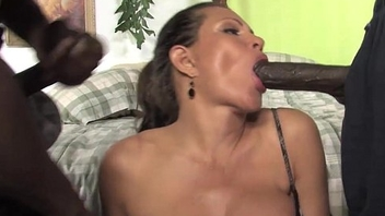 Teri Weigel takes two black cocks in front of her descendant