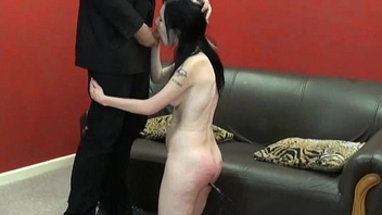 Spanked amateur slaves brutal blowjob and rough whipping of oral submissive Faye