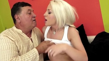Teen hottie Anastasia Blonde sucks off grandpa before banged
